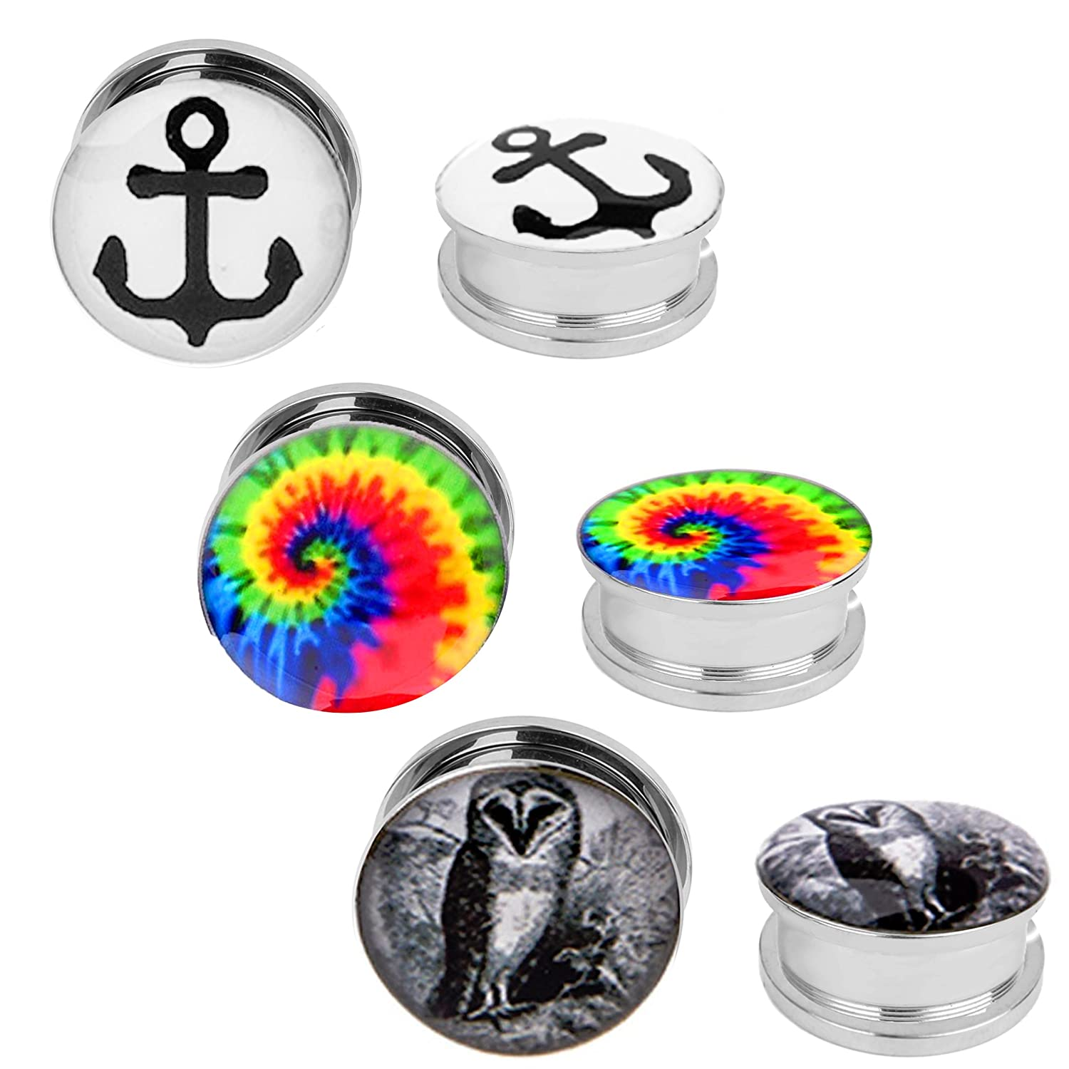 Screw Fit Anchor Owl Tie Dye Plugs Kit Stainless Steel Plugs 2G-00G - 6 Pack BodyJ4You PL6266-2G