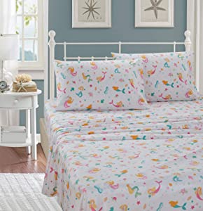 Better Home Style Under The Sea Life Mermaid Girls/Kids/Teens 3 Piece Sheet Set with Pillowcase Flat and Fitted Sheets Set with sea Stars and Seahorses # Pink Mermaid (Twin)