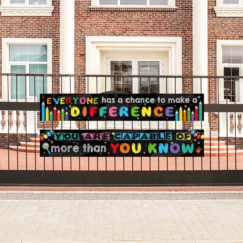 2 Packung Motivation Klassenzimmer Banner Poster Positive Banner Inspirierende Banner f/ür Sch/üler P/ädagogische Lehrer Klassenzimmer Dekorationen Banner mit 40 Klebe Punkte
