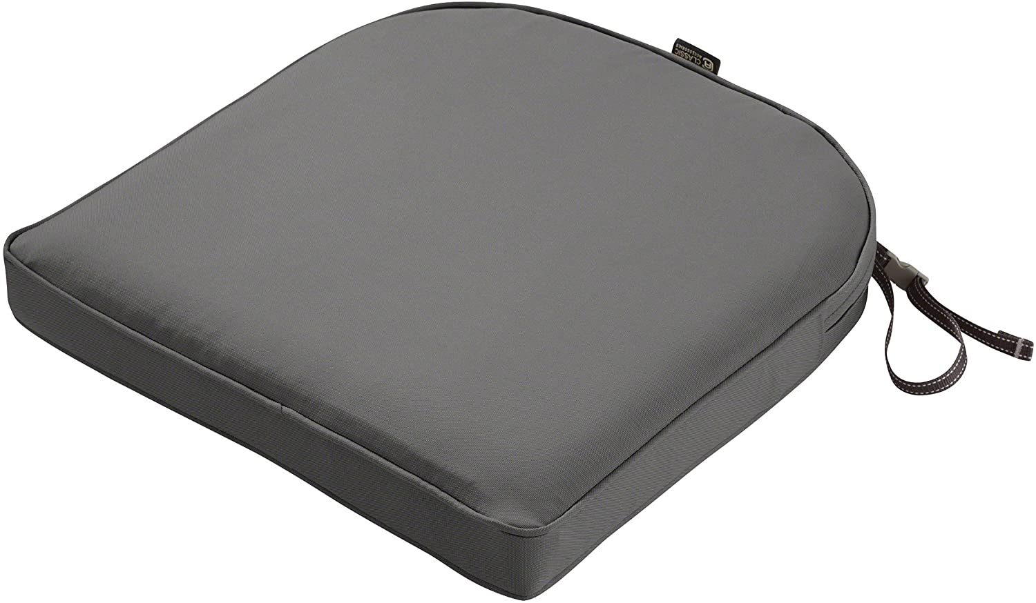Classic Accessories Montlake Water-Resistant 18 x 18 x 2 Inch Contoured Patio Dining Seat Cushion, Light Charcoal Grey