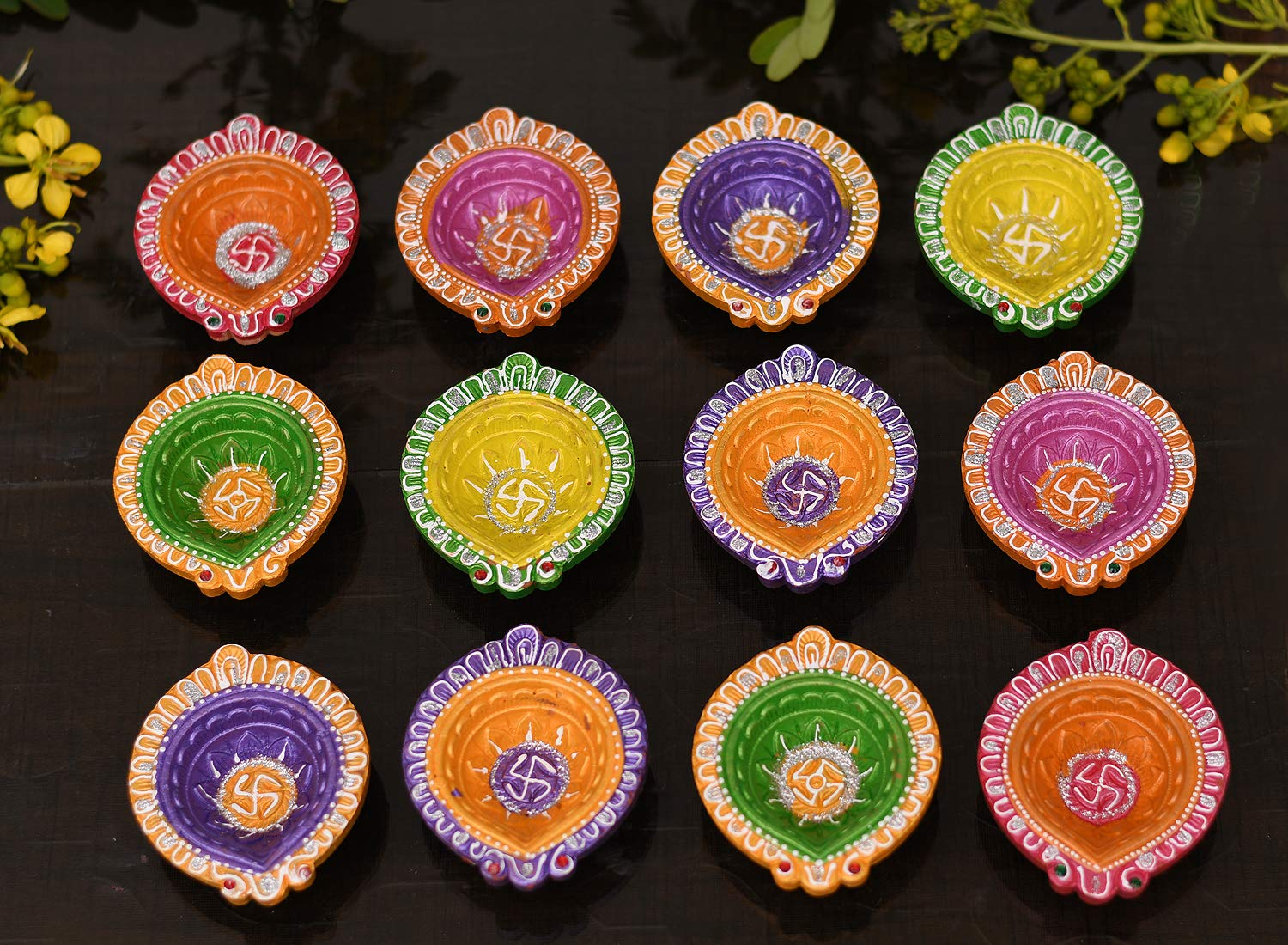 Clay Diyas Colorful Gift Set For Diwali Decoration