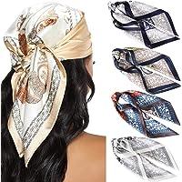 23.6 Inches Satin Head Scarves for Women 4PCS Square Silk Like Hair Scarves Silk Hair Bandanas (Cashew(Splicing) #1)