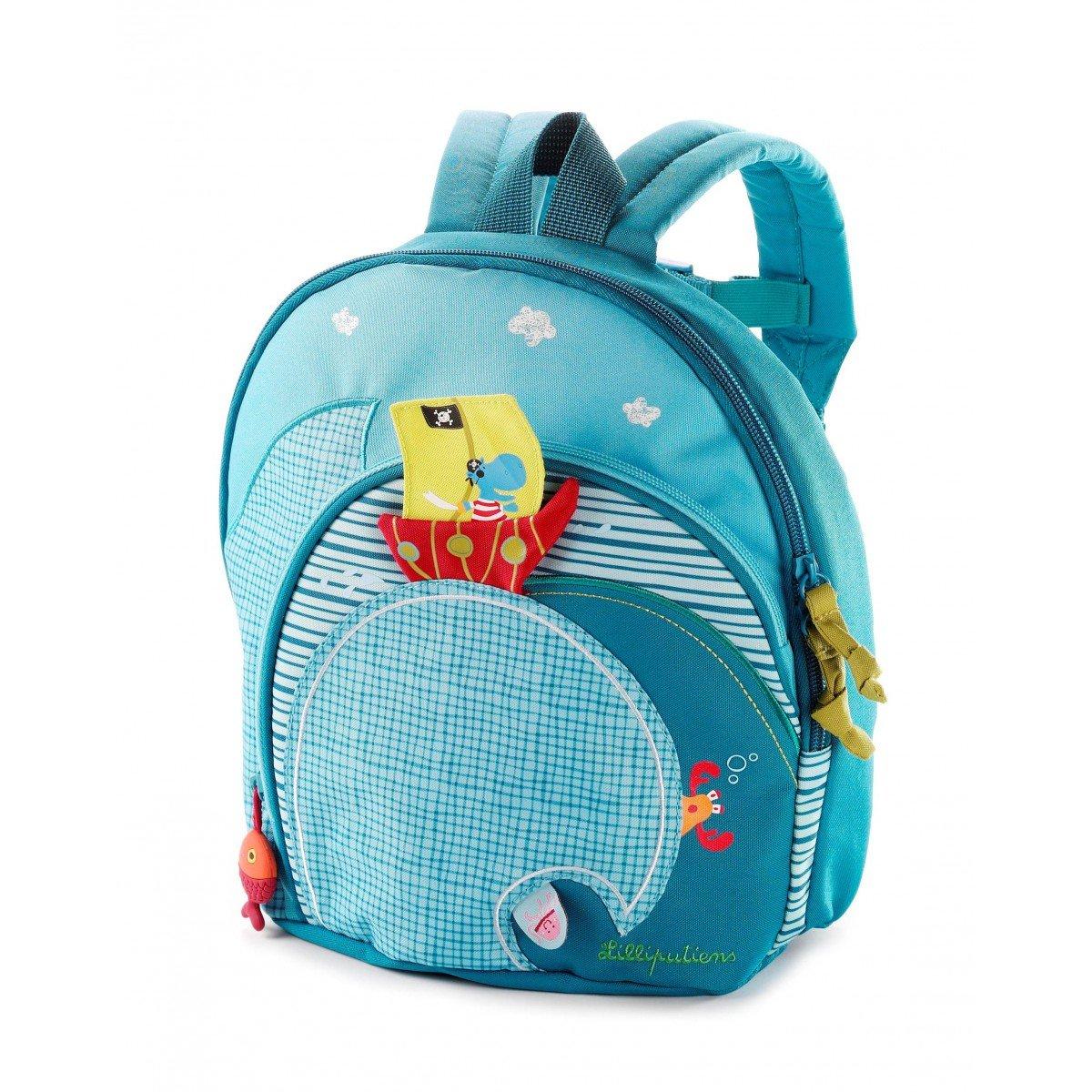 Lilliputiens 86303 Rucksack Kinderrucksack Kindergartentasche in blau, Größe 25x25x13 cm Größe 25x25x13 cm Schulbedarf