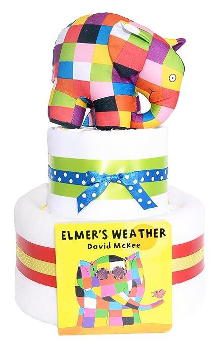 Elmer el elefante 2 Tier – tarta de pañales para bebé regalo Hamper – rápido y