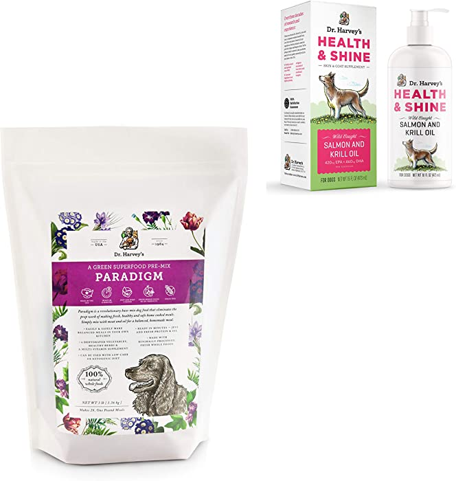 Dr. Harvey's Paradigm 3lb Base Mix for Dogs paired with Health & Shine Salmon and Krill Oil for Dogs