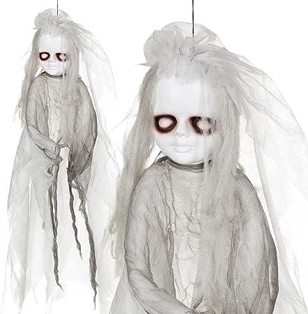 Amazon De Halloween Figur Horrorpuppe I Mit Licht Zum Aufhangen Halloween Deko Party