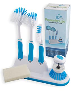 Kitchen Cleaning 6 Piece Set, Including Sponge And Caddy For Scrubbing  Dishes, Bottles,