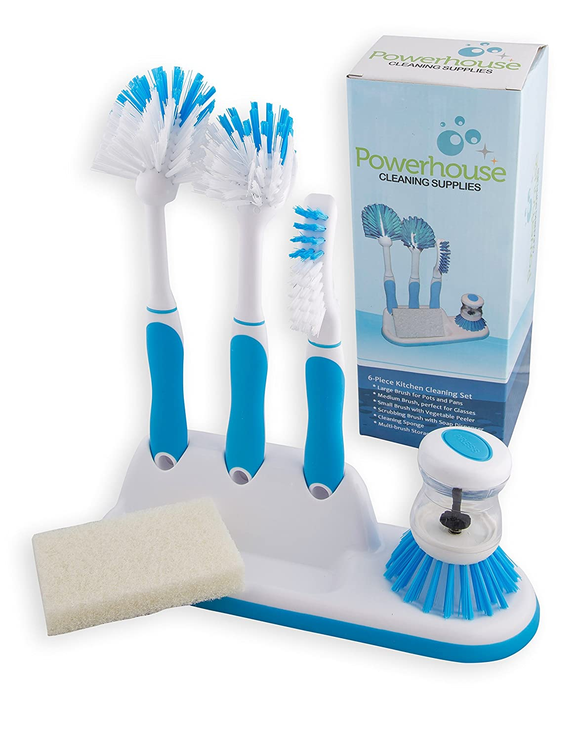 Amazon.com: Kitchen Cleaning 6 Piece Set, Including Sponge and Caddy ...