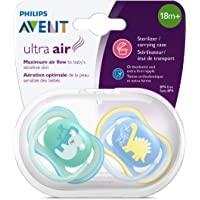 Philips Avent Ultra Air Pacifier/Soother with Extra Firm Nipple for 18 Months Plus Babies with Sensitive Skin, Orthodontic & BPA-Free, 2-Pack, SCF349/10