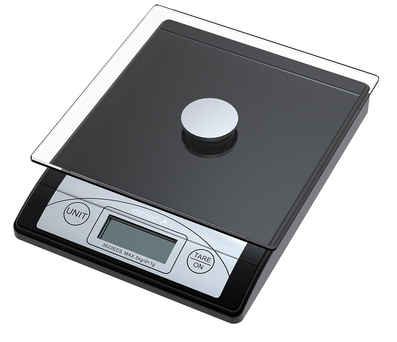 Genie 3623 EDS Balance à courrier et de cuisine graduée de 1 g à 5 kg en plastique résistant avec plateau de verre et écran digital Noir