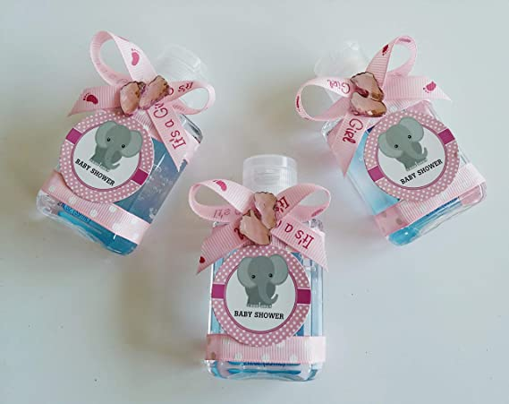 Amazon.com: 12 Its a Girl Pink Elephant Sanitizer de mano ...