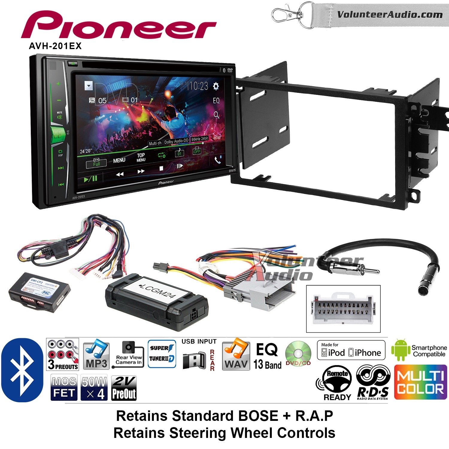 Pioneer AVH-201EX Double Din Radio Install Kit with CD Player Bluetooth USB/AUX Fits 2003-2005 Chevrolet Blazer, 2003-2006 Silverado, Suburban (Bose and SWC) by Volunteer Audio (Image #1)