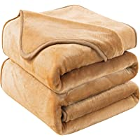 """Soft Blanket Twin Size Fleece Warm Fuzzy Throw Blankets for The Bed Sofa Lightweight 350GSM HOZY Camel 66"""" 90"""""""