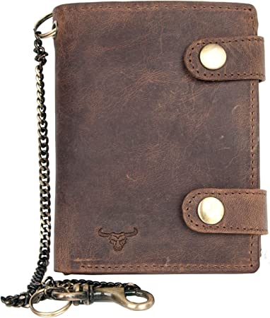 Men/'s biker/'s genuine natural leather wallet with bull head with metal chain