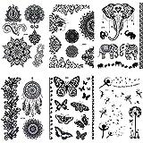 Dr.Pedi Henna Tattoo Stickers Nautical Temporary Tattoos for Women Girls Metallic Black Lace Body Art Large Big Arm 6 Pack