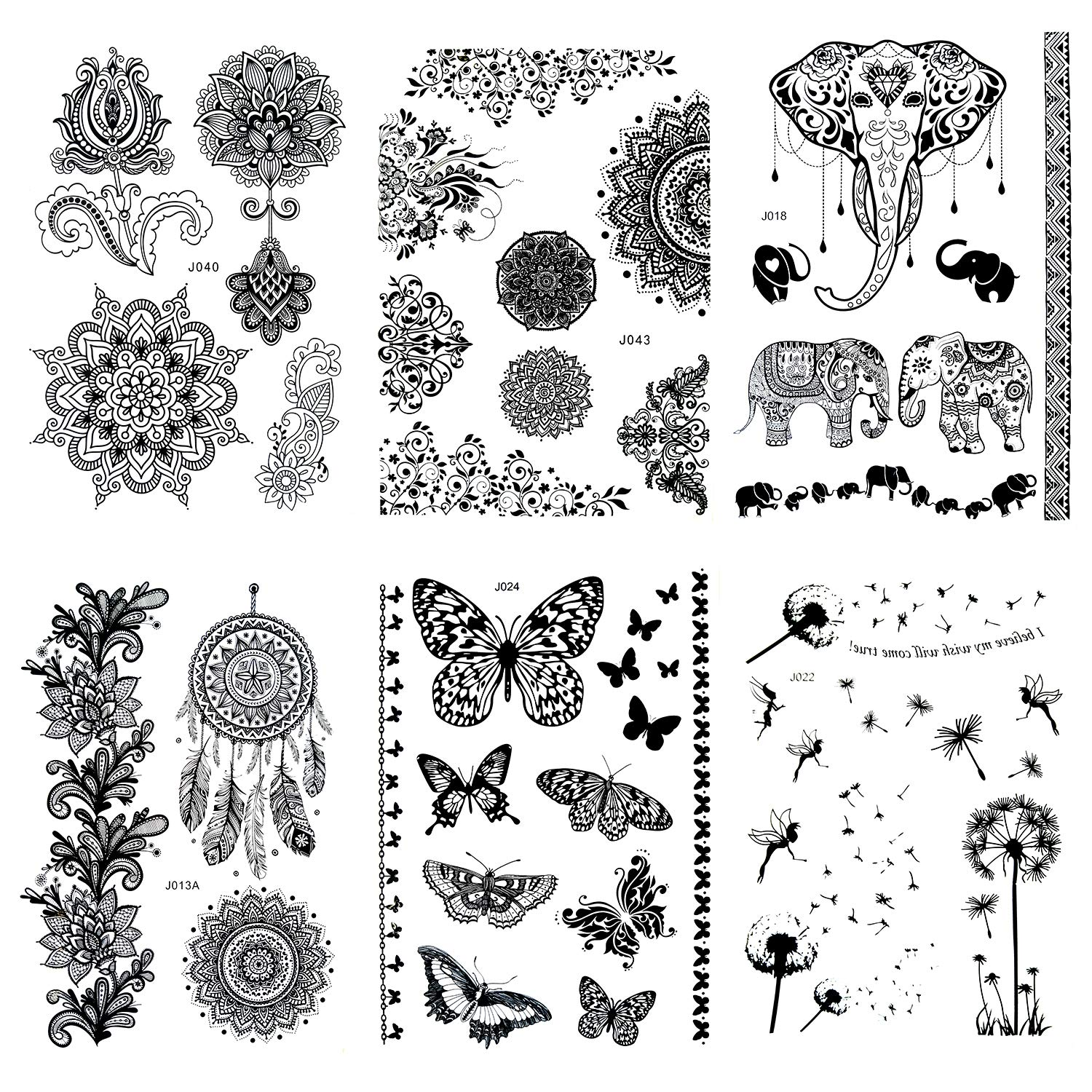 Pinkiou Women Tattoo Stickers Black Lace Mehndi Stickers Temporary Tattoos Fashion Body Art (Pack of 6)