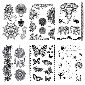 7606ef4438ee5 Pinkiou Women Tattoo Stickers Black Lace Mehndi Stickers Temporary Tattoos  Fashion Body Art (Pack of
