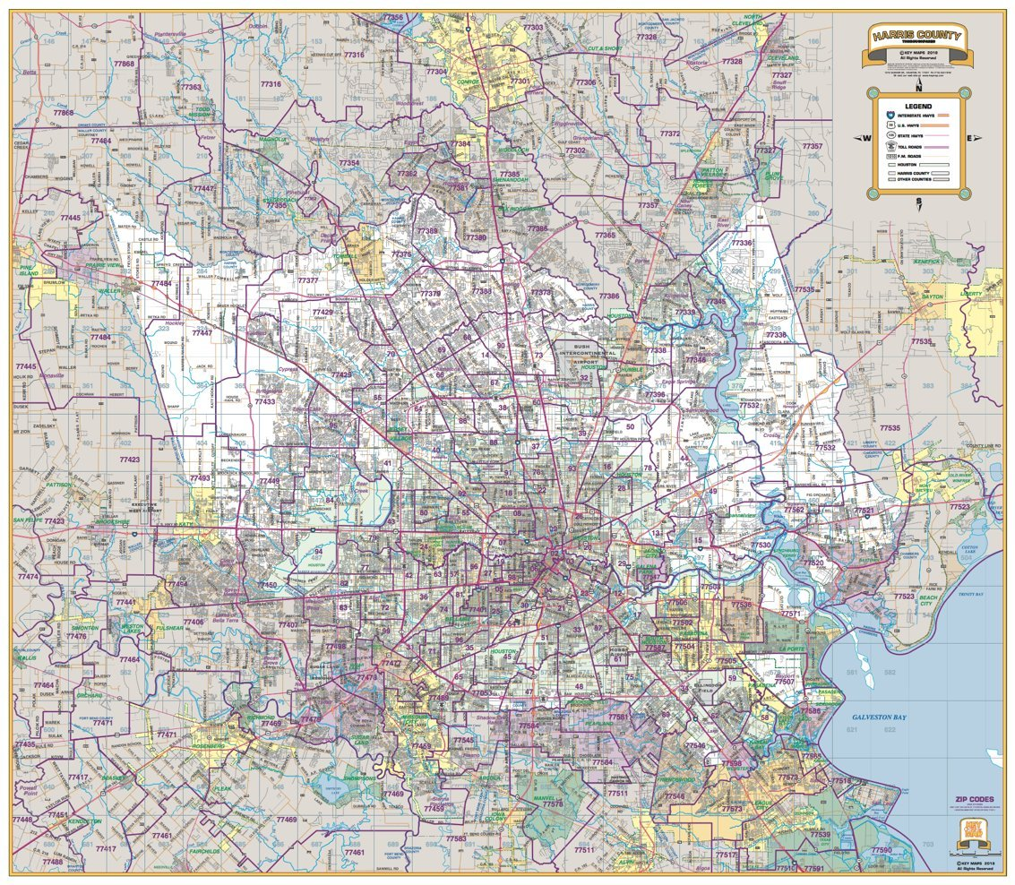 Greater Houston Area Zip Code Map.Amazon Com Greater Houston Harris County Laminated Wall Map W Zip
