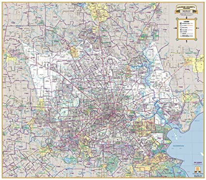 Greater Houston/Harris County Laminated Wall Map w/Zip Codes
