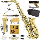 Mendini By Cecilio Alto Saxophone - E Flat Saxophones w/Case, Mouthpiece, Stand, Reeds & Cloths