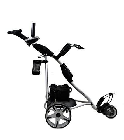 Airel Carrito de Golf Eléctrico Plegable |Carro Golf 3 Ruedas|Golf Trolley-Blanco