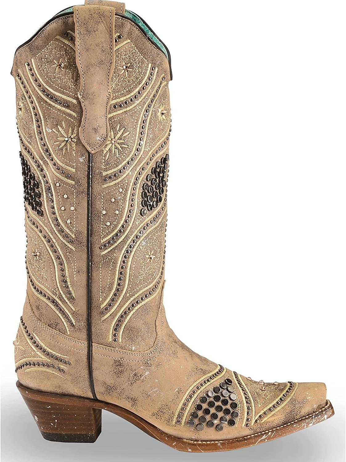 CORRAL Womens Embroidered Studded Bridal Cowgirl Boot Snip Toe