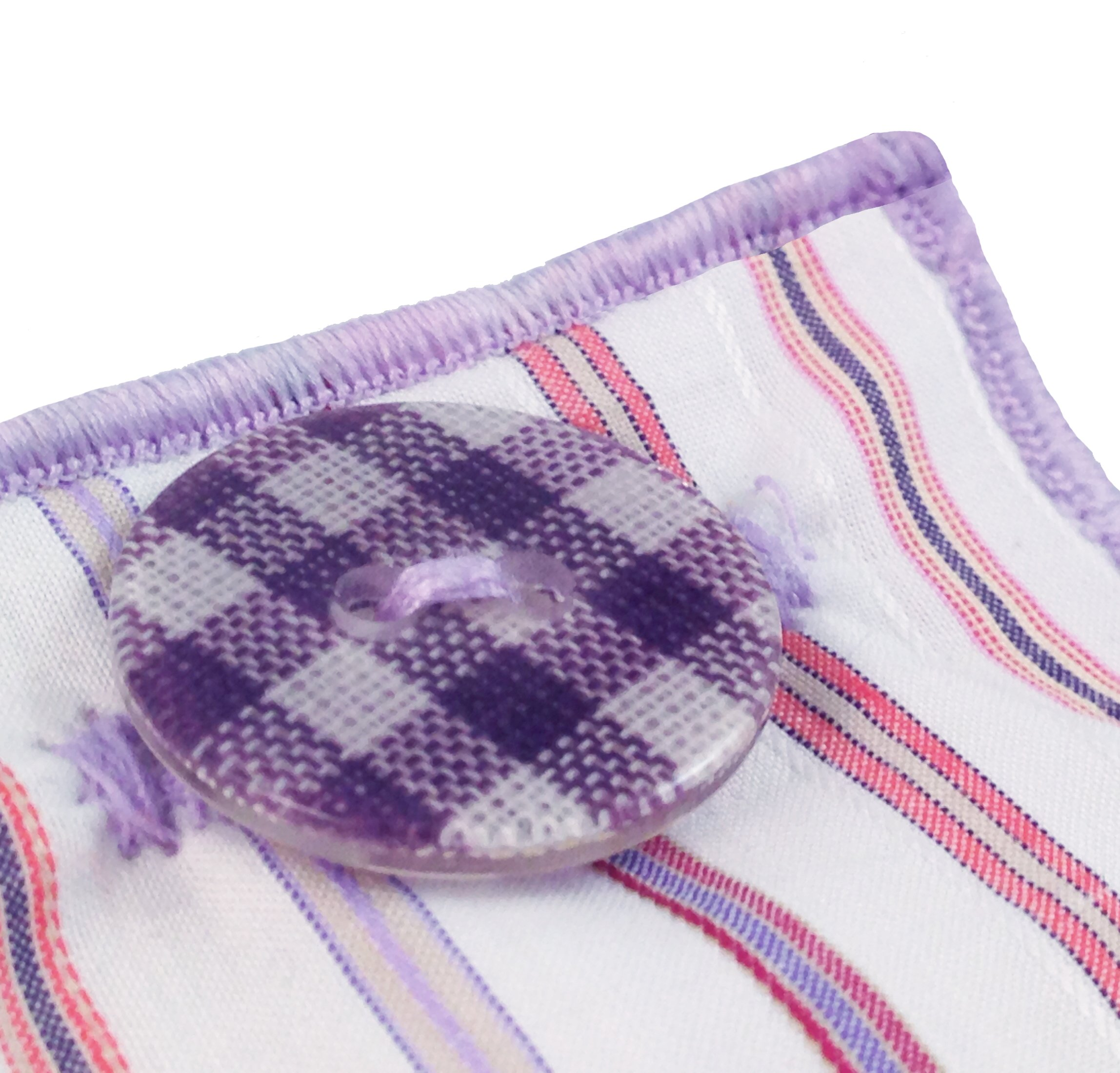 White & Multi Stripe w/Gingham Button Men's Pocket Square by The Detailed Male by The Detailed Male (Image #3)