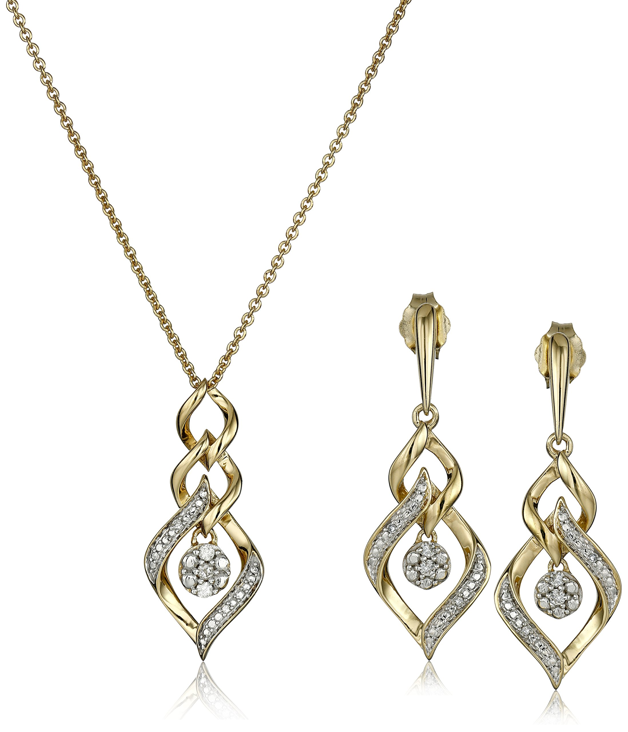 18K Yellow Gold over Sterling Silver Diamond Cluster Pendant Necklace and Earrings Box Set (1/10 cttw)