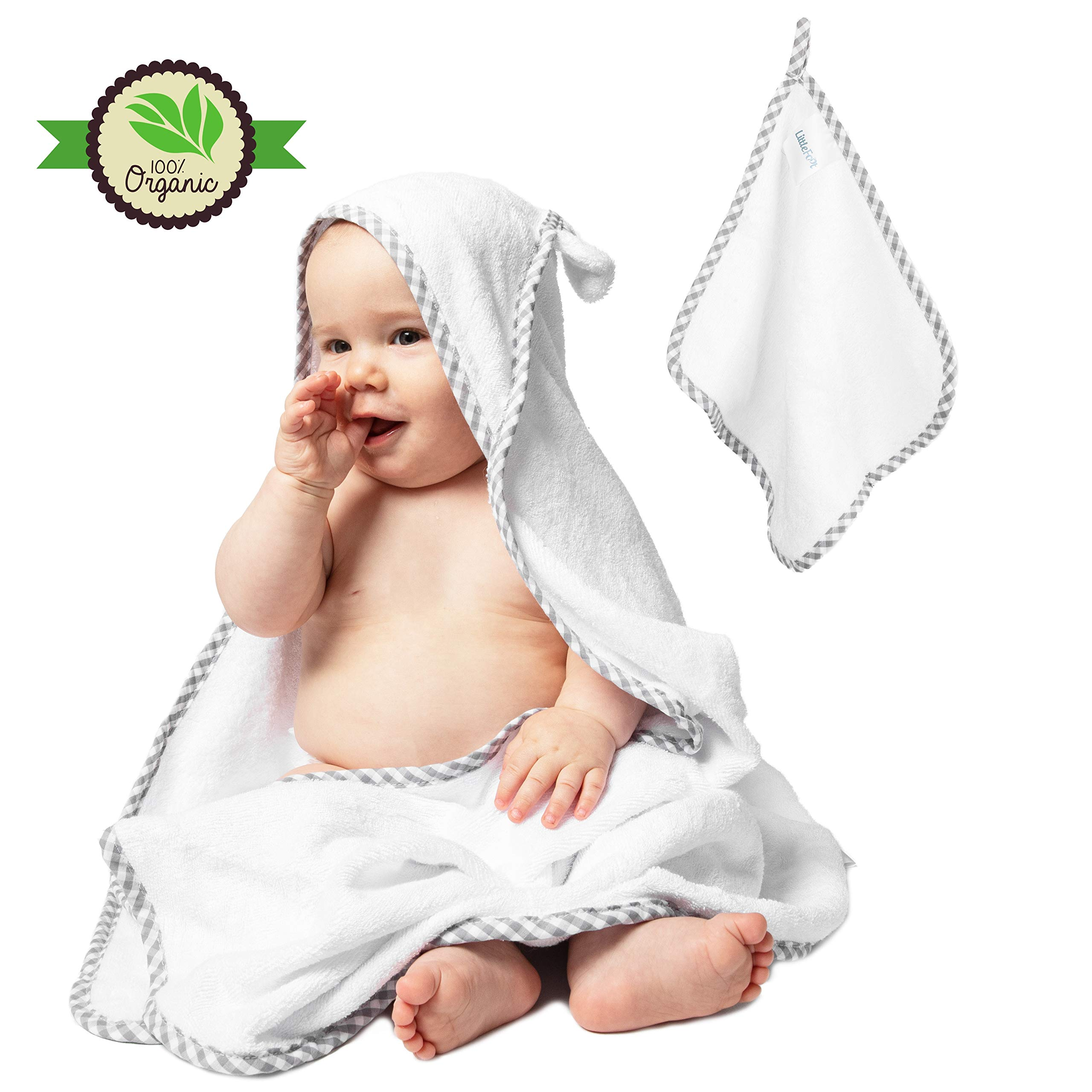 100% Organic Bamboo Hooded Baby Toddler Towel with Ears - Premium Hypoallergenic 500GSM Extra Large (35X35) with Washcloth for Boys and Girls Baby Shower Gift Set