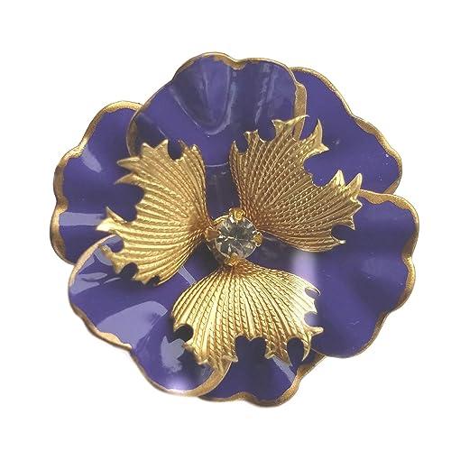7674511e71a Amazon.com: Small Purple and Gold Tone Brooch Enamel Flower Pansy Pin:  Handmade