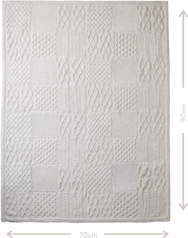 Isla /& Fraser Couverture pour b/éb/é en coton bio cellulaire en maille torsad/ée Gris 70 cm x 90 cm