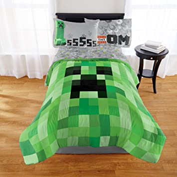 minecraft builders boys full comforter sheets w 5 piece bed in a bag - Minecraft Bedding Set
