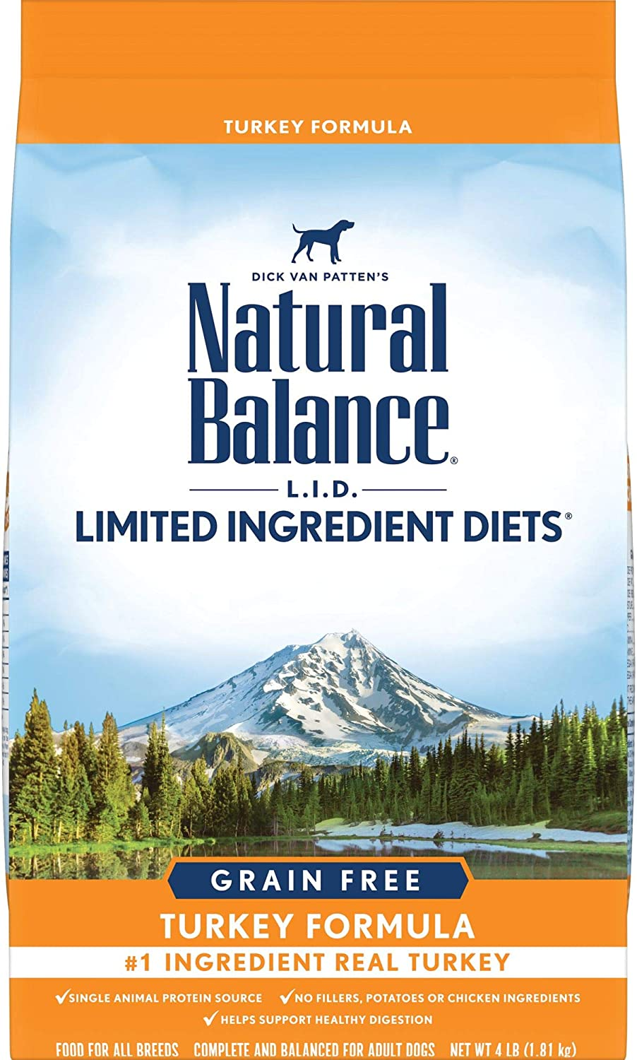 Natural Balance L.I.D. Limited Ingredient Diets High Protein Dry Dog Food, Turkey Formula, 4 Pounds, Grain Free