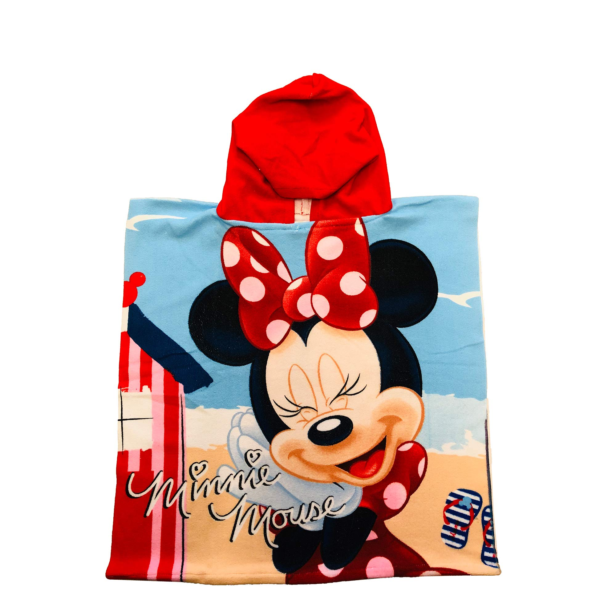 Minnie Mouse on The Beach Blue Skies Hooded Poncho Towel