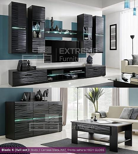 Juego de muebles de sala de brillante de pared armario mueble para TV Pantalla Blade 4 negro Blade 4 (full set): Amazon.es: Bebé
