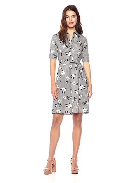 64d7138e6ad1 Wild Meadow Women's Short Sleeve Shirt Dress in Floral Stripe XL Daffodil