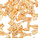 FOSHIO 100 Pack Golden Car Electrical Female Ring