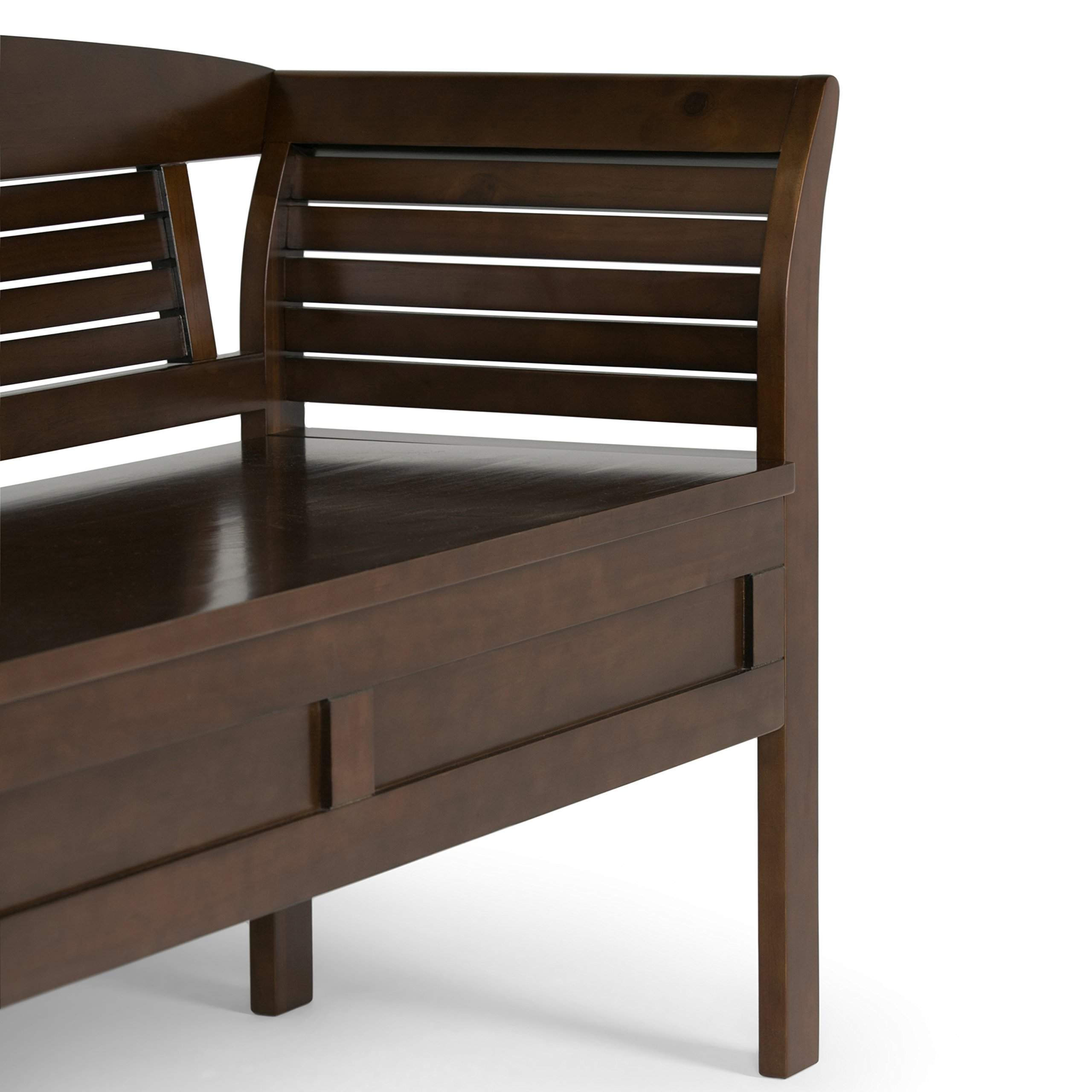 Simpli Home Arlington Solid Wood Entryway Storage Bench, Medium Rustic Brown by Simpli Home (Image #5)