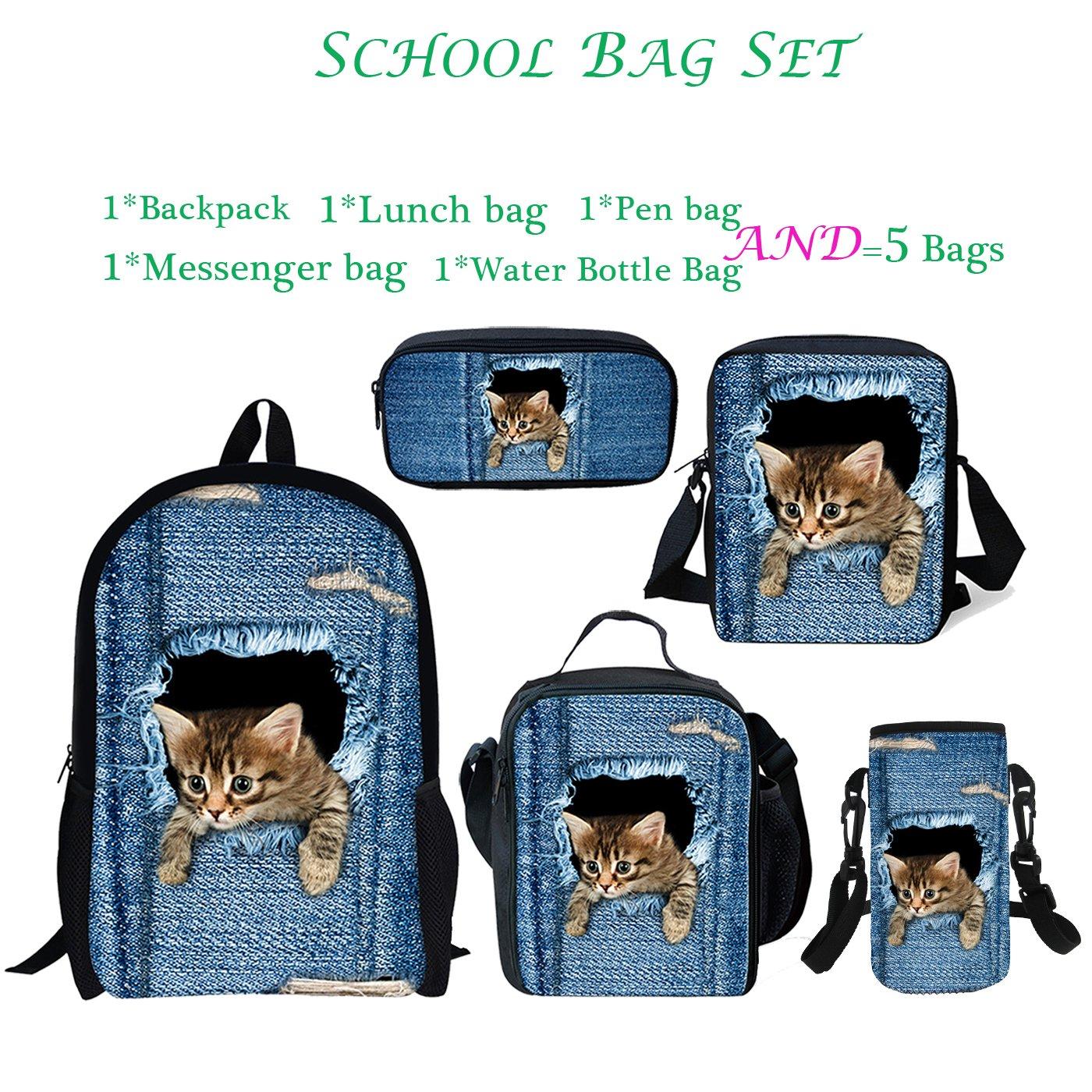 ThiKin 5 School Bags Set Cute Cat Backpack Lunch Bag Messenger Bag Pen Bag Water Bottle Carrier for Kids
