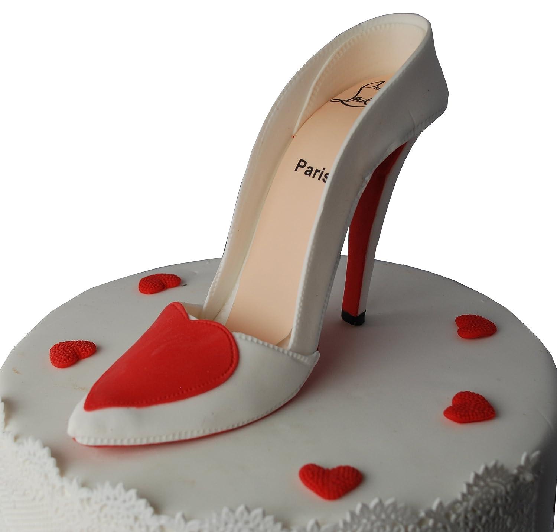 Edible White Red High Heel Stiletto Shoe Cake Topper Decoration