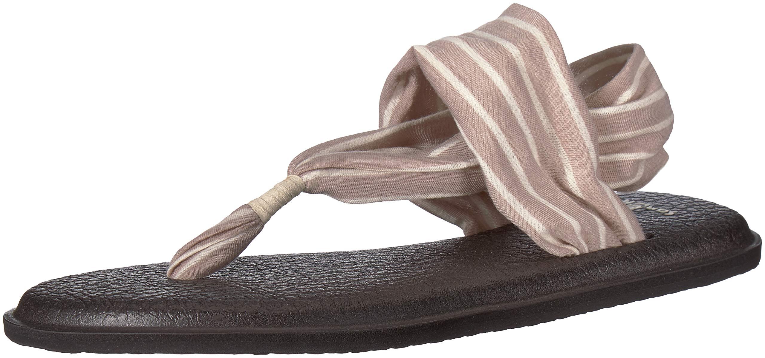 Sanuk Women's Yoga Sling 2 Prints Flip Flop,Tan/Natural Stripes,5 M US