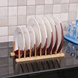 Kurtzy Bamboo Foldable Dish Rack Perfect Plate Bowl Double Drainer Wooden Utensil Holder for Kitchen (1 Layer)
