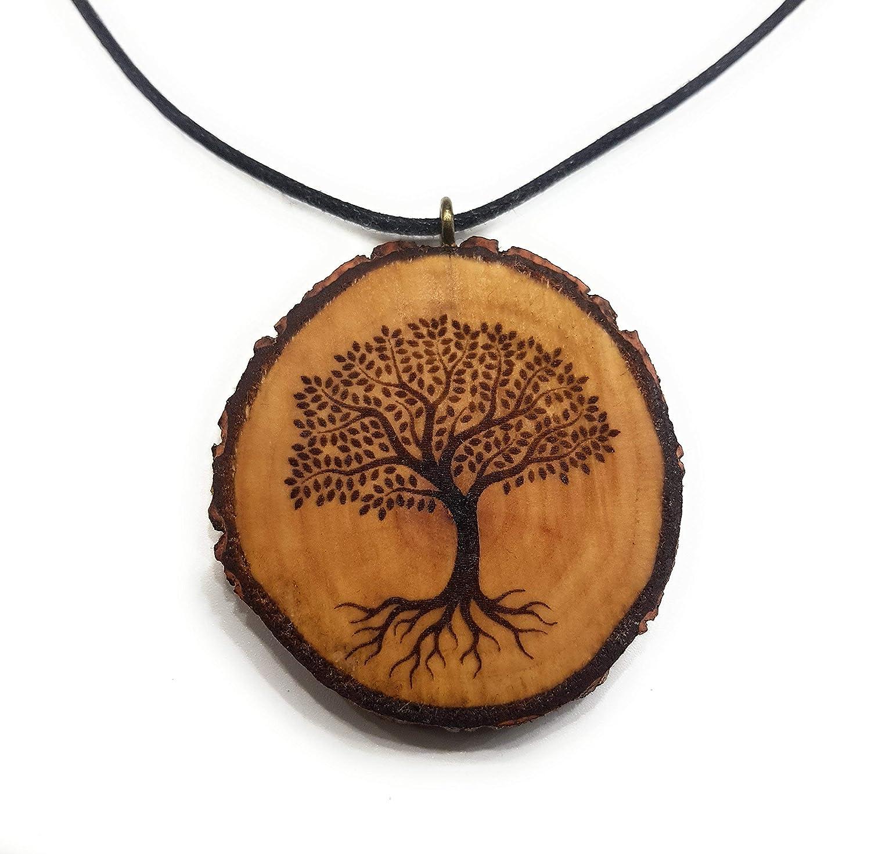 SOULSLICES Baum Holzkette Spende an Plant-for-the-Planet - Natur - Baum des Lebens - Vegan - Nachhaltig - Astschmuck - Gravur - Yoga - Bedeutung- Geschenk - Natur-Schmuck - Damen - Frauen