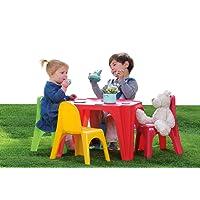 AVANTI TRENDSTORE Set per bambini con 1 tavolo e 4 sedie in plastica sintetica colorata, ca. 55,5x37,5x55,5 cm/35x41x28 cm