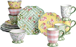 Certified International English Garden 16 Piece Dinnerware Set, Service for 4, Multicolored