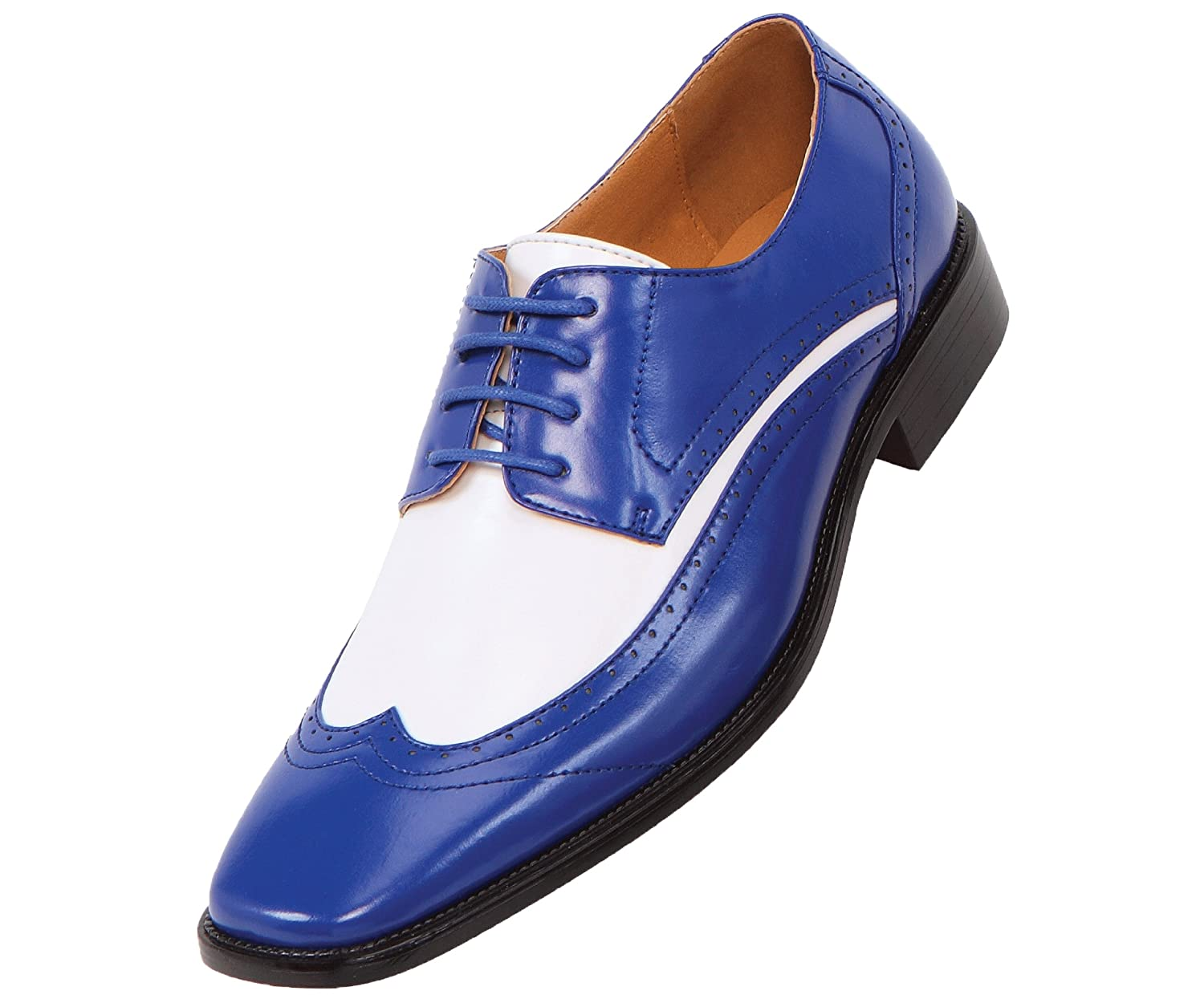 Amazon.com | Amali Mens Two-Tone Royal Blue and White Wingtip ...