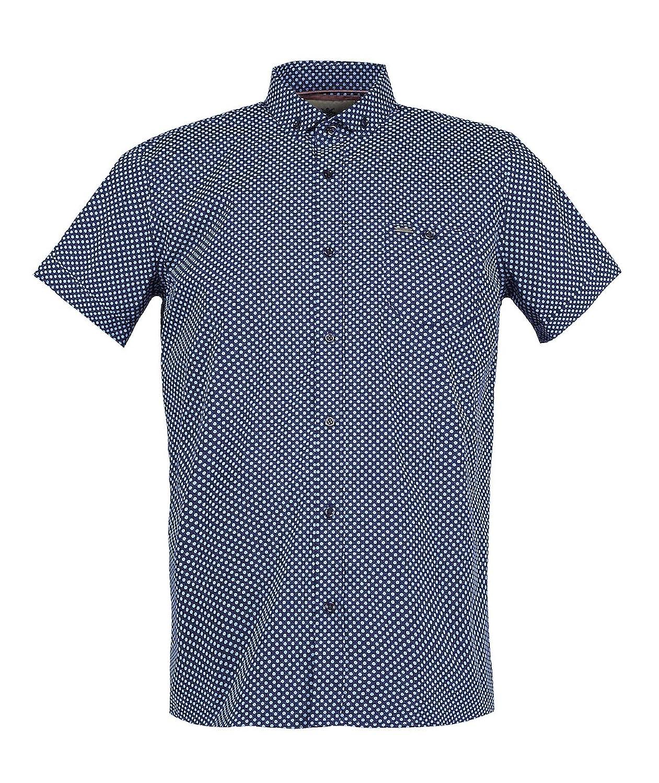 Guide London Short Sleeve Polka Dot Shirt Navy Blue Sky HS.2099