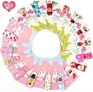 FiGoal 30 PCS Valentine's Day Magnetic Bookmark with 30 Valentine's Day Cards Kids Classroom Assorted Stationery Value Gift Set in 30 Different Designs Classroom Exchange Party Supplies