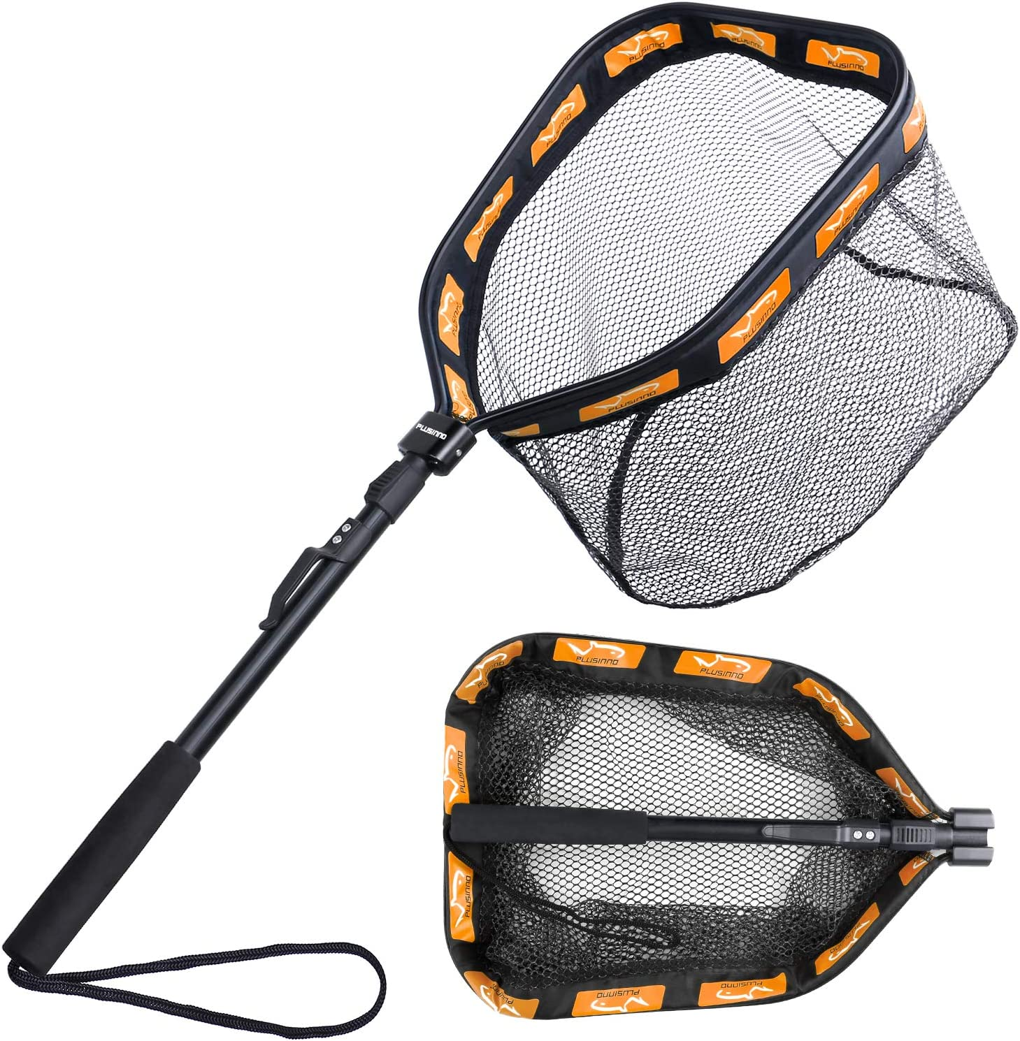 PLUSINNO Floating Fishing Net for Steelhead, Salmon, Fly, Kayak, Catfish, Bass, Trout Fishing, Rubber Coated Landing Net for Easy Catch & Release, Compact & Foldable for Easy Transportation & Storage