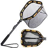 PLUSINNO Floating Fishing Net for Steelhead, Salmon, Fly, Kayak, Catfish, Bass, Trout Fishing, Rubber Coated Landing Net for